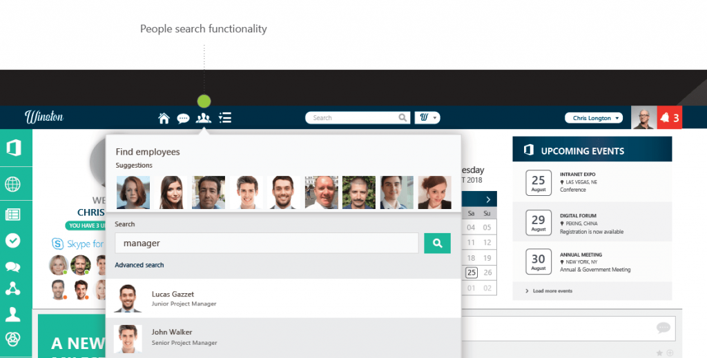 social intranet widget